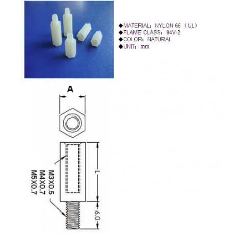 Espaciador roscado hexagonal M3 x 8 MM 10 unidades